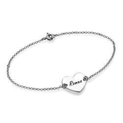 Bracelet pour Couple avec Coeur Personnalisé en Argent photo du produit