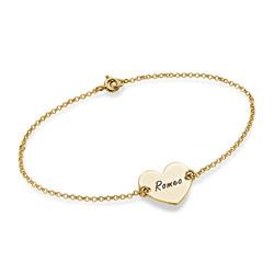 Bracelet Coeur Gravé Couples en Plaqué Or 18ct photo du produit