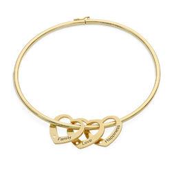 Bracelet Jonc avec Pendentifs Cœur et Diamants en Plaqué Or 18ct photo du produit