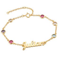 Bracelet Prénom avec Pierres Multicolores en Plaqué Or photo du produit