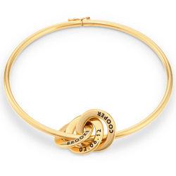 Bracelet Jonc Anneaux Gravés en Plaqué Or photo du produit