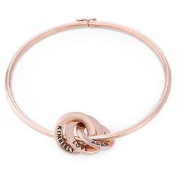 Bracelet Jonc Anneaux Gravés en Plaqué Or Rose photo du produit