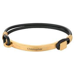 Bracelet homme en Gomme personnalisé avec Barre gravable en Plaqué Or photo du produit