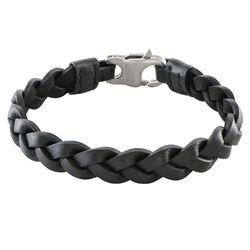 Bracelet cuir pour homme Corde Marine noire photo du produit