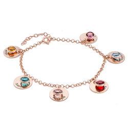 Bracelet Charms Personnalisé pour Maman avec cristaux en Plaqué Or photo du produit