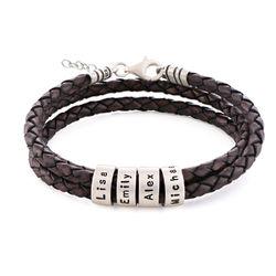 Bracelet en Cuir Tressé Marron pour Femme avec Petites Perles photo du produit