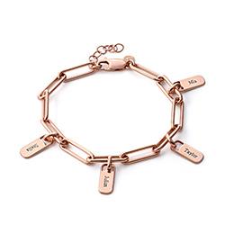 Bracelet Chaîne avec Charmes Personnalisables en Plaqué Or Rose 18cts photo du produit