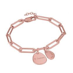 Bracelet Chaîne Personnalisée avec Charmes Gravées en Plaqué Or Rose photo du produit