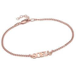 Bracelet Prénom avec Lettres Majuscules en Plaqué Or Rosa 18 Cts photo du produit