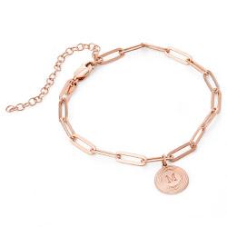 Bracelet Odeion chaîne avec Initiale en plaqué or rose 18 carats photo du produit