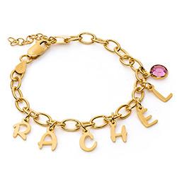 Bracelet à breloques lettre pour fille en Argent 925 Plaqué Or 18cts photo du produit