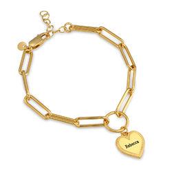 Bracelet à maillons en forme de cœur en Plaqué Or 18cts photo du produit