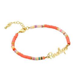 Bracelet nom avec perles plaquées or photo du produit