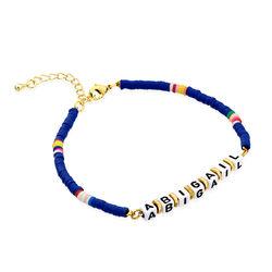Bracelet de nom Royal Berry en argent sterling avec perles photo du produit