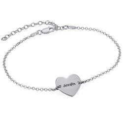 Bracelet de cheville avec cœur en argent photo du produit