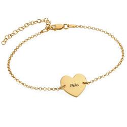 Bracelet de cheville avec cœur en plaqué or photo du produit