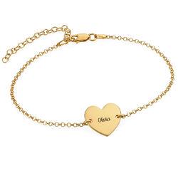Bracelet de cheville avec cœur en plaqué or vermeil photo du produit