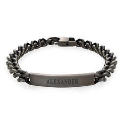 Bracelet d'identification pour homme en acier inoxydable noir. photo du produit