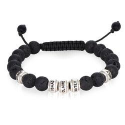 Bracelet de perles noires avec pierres de lave pour hommes photo du produit