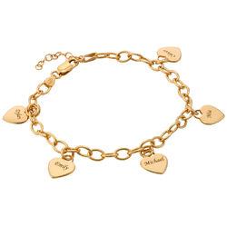 Bracelet Breloques cœur plaqué or à Personnaliser pour les Mamans photo du produit