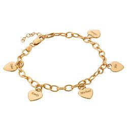 Bracelet Breloque en Coeur à Personnaliser en Or Vermeil photo du produit