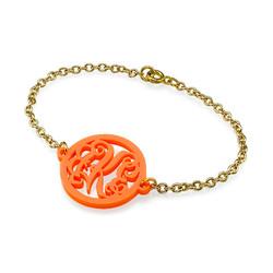Bracelet Monogramme couleur avec chaîne plaquée or 18cts photo du produit