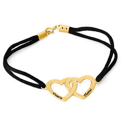 Bracelet Cœur pour Couple en Argent Plaqué Or 18ct photo du produit