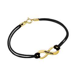 Bracelet Infini Gravé Plaqué Or avec Cordon Imitation Cuir photo du produit