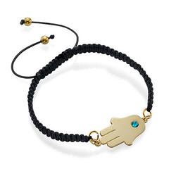 Bracelet Hamsa Plaqué Or avec Pierre de Naissance photo du produit