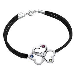 Bracelet 3 cœurs avec pierres de naissance photo du produit