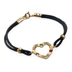 Bracelet Coeur avec Pierres de Naissance en Plaqué Or 18cts photo du produit