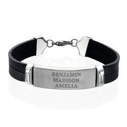 Bracelet Homme cuir personnalisé prénom photo du produit