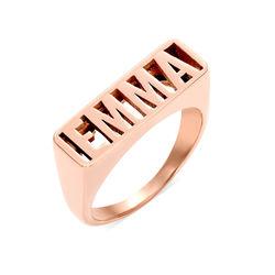 EMMA Bague prénom en Plaqué Or Rose photo du produit