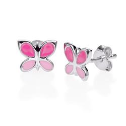 Boucles d'Oreilles Papillon Rose pour Enfants photo du produit