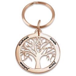 Porte-clés arbre de vie personnalisé en plaqué or rose photo du produit