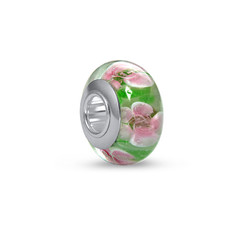 Charm en Verre Rose et Vert photo du produit