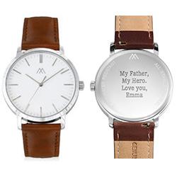 Montre Hampton minimaliste avec bracelet en cuir marron - Cadran Blanc photo du produit