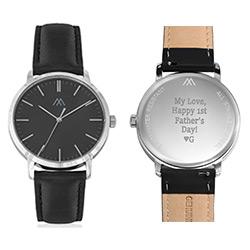 Montre Hampton minimaliste avec bracelet en cuir noir- Cadran Noir photo du produit