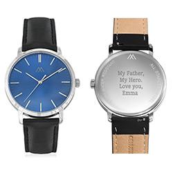 Montre Hampton minimaliste avec bracelet en cuir noir- Cadran Bleu photo du produit