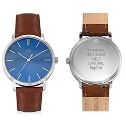 Montre Hampton minimaliste avec bracelet en cuir marron - Cadran Bleu photo du produit