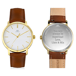 Montre Hampton gravée minimaliste en cuir marron product photo