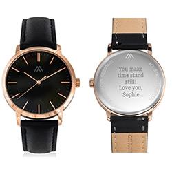 Montre Hampton personnalisée minimaliste en cuir noir photo du produit