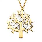 18K Collier arbre de vie plaqué or avec oiseaux initiales en argent