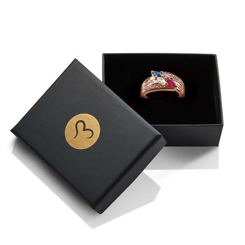 Bague Maman 4 pierres - Or rose plaqué - 1