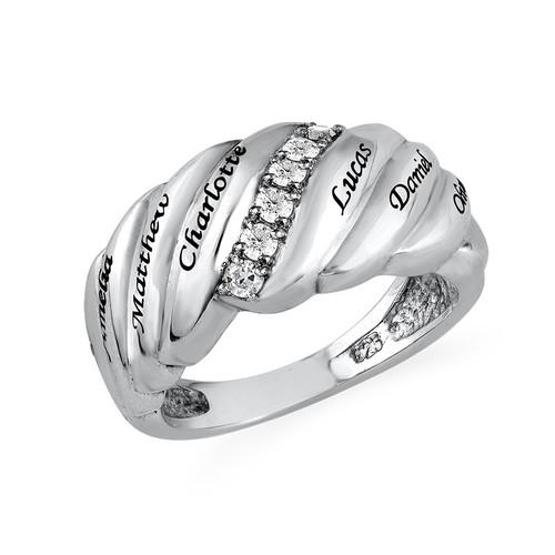 Bague Maman avec 6 pierres couleur diamant