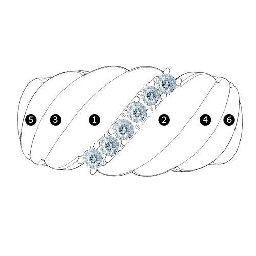 Bague Maman avec 6 pierres couleur diamant - 1