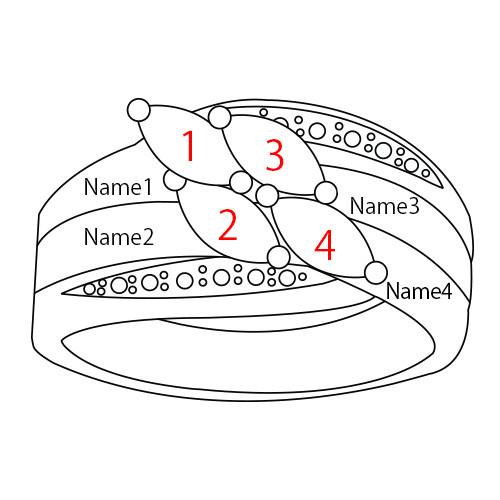 Bague Pour Mamans et ses 4 pierres de Naissance en Plaqué Or - 4