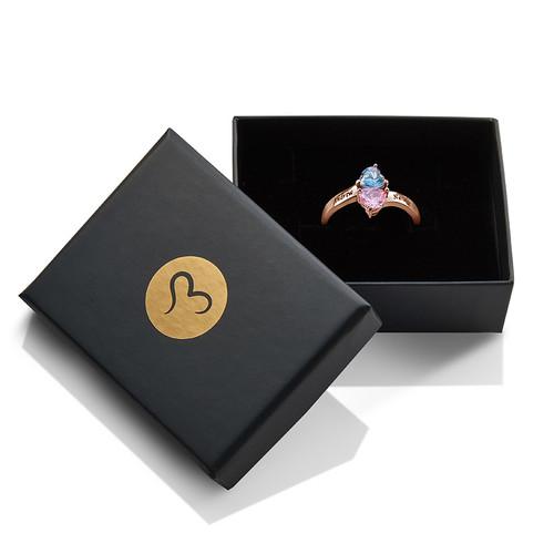 Bague cœur personnalisée pierre de naissance plaquée or rose - 2