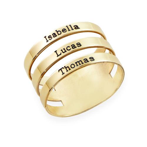 Bague trois prénoms en or 10 carats