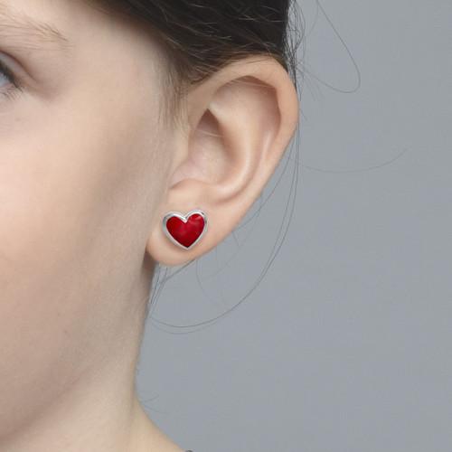 Boucles d'Oreilles Cœurs Rose - 1